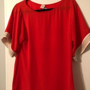 Red & white top with gold embellishment